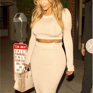 Beige Forever 21 Sweater Co-Ord Crop Top Skirt Set